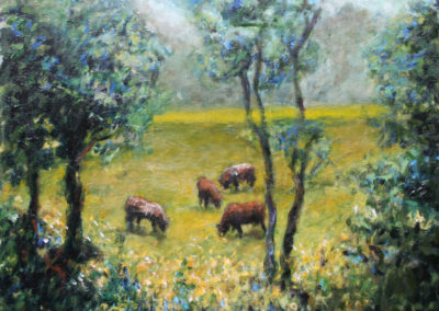 """Pasture on The Road to El Rodeo, 20""""x 24"""". Oil on canvas. US$ 1,600."""