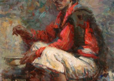 "Peanut Vendor from San Juan Atitan - William Kalwick Jr. North American fine artist - 18""x14"". Oil on canvas. Price US$2,900"