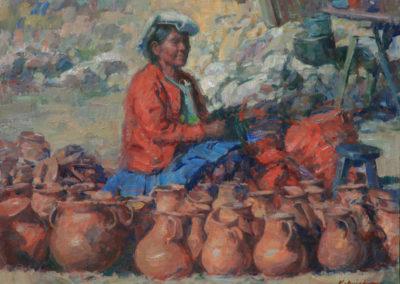 "Pottery Seller William Kalwick Jr. North American fine artist - 14""x 18"". Oil on canvas. Price US$3,200"