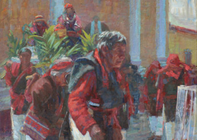 "San Juan Atitán Feast Day - William Kalwick Jr. North American fine artist - 14""x18"". Oil on canvas. Price US3,200"