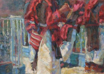 "San Juan, Dia de Plaza - William Kalwick Jr. North American portrait artist - 16""x12"". Oil on wood. Price US$2,000."