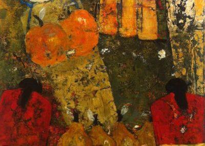 """Vendedoras, acrylic on canvas, 17.5"""" x 13."""" US$1740"""