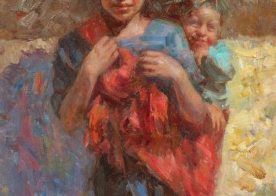 "My Little Brother, William Kalwick Jr. North American fine artist - 16"" x 12, oil on wood, US$. 2000."