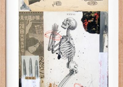 "36 Balas by Alvaro Sanchez mixed medium contemporary artist, 9"" x 12"", mixed medium on MDF, 2016, US$. 385."