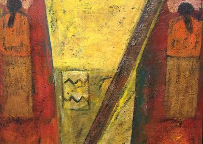 "Campesino, acrylic on canvas, 34"" x 25"", US$. 4350."