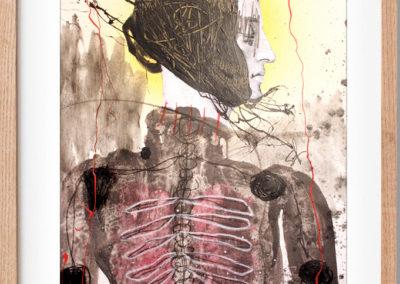 """Figura desconocida para desarmar by Alvaro Sanchez, mixed medium contemporary artist, 2013, 18"""" x 24"""", Mixed medium on paper, US$. 685"""