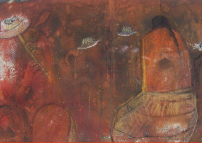 """Flautista y Mujer, mixed medium on sand paper 5"""" x 9"""", US$. 875"""