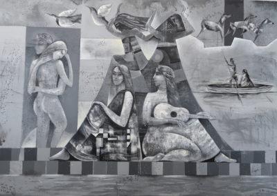 "Gemelas by Emanuel Paniagua - Guatemalan fine artist - acrylic & oil on canvas, 63"" x 75"", US$. 8000."