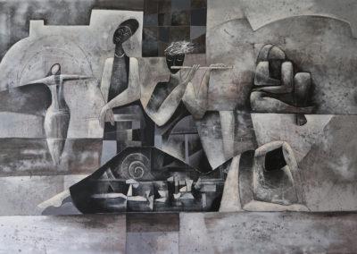 "Melancolia - Emanuel Paniagua - Guatemalan fine artist, acrylic & oil on canvas, 52"" x 74"", US$. 8000."