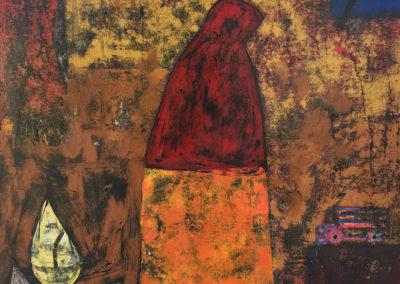 "Viuda, acrylic on canvas, 25 1/2"" x 23 1/2"", US$. 4350."