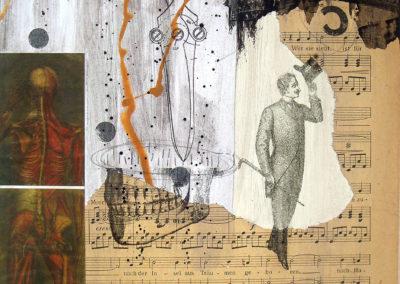 """Canciones para cortar quijadas by Alvaro Sanchez, mixed medium contemporary artist, 9"""" x 12"""", mixed medium on MDF, 2016, US$. 385. SOLD!"""