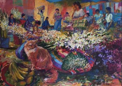"""Mercado con gato - B. M. Johnston (2000), acrylic on canvas, 48"""" x 36"""" US$. 5,500."""