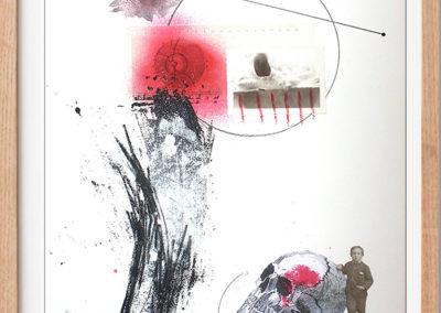 """Niño y craneo - Alvaro Sanchez, mixed medium contemporary artist, Mixed medium collage artist - 18"""" x 24"""" Mixed medium & collage, US$. 685."""