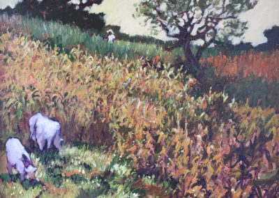 "Paseo entre la milpa - B. M. Johnston (1998) 24"" x 20"" oil on canvas, US$. 2500."