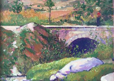 "Puente en Nahuala - B. M. Johnston - North American Impressionist artist (1998), 18"" x 24"", oil on canvas, US$. 2000."
