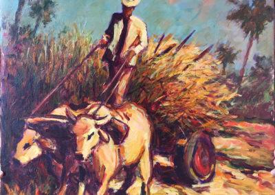 Sugar cane harvest - B. M. Johnston -- North American Impressionist artist (2000), Oil on canvas, US$. 2500.