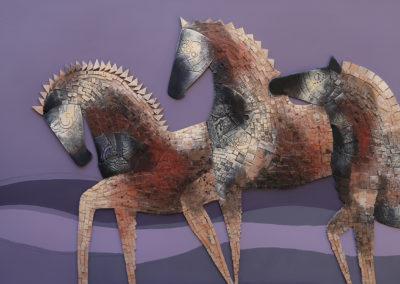 "Tres Fortalezas - Emanuel Paniagua - Guatemalan Fine Artist - Terracota on board - 34"" x 55"", US$. 3800."
