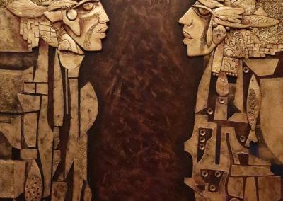 "Umbrales - Emanuel Paniagua - Guatemalan Fine Artist, 45"" x 28"" terracota & gold leaf, US$. 5000."