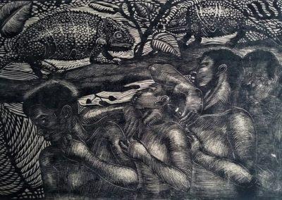 "Camaleones - Guillermo Maldonado - Guatemalan artist and print maker - Wood Engraving - 12"" x 18"" - US$. 500."
