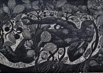 "Fruto maduro - Guillermo Maldonado - Guatemalan artist and print maker - Wood etching - 16"" x 24"" US$640."