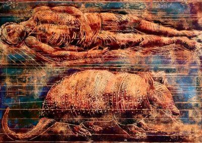 "Hombre y armadillo - Guillermo Maldonado - Guatemalan Artist and Print Maker - Colored Wood Engraving - 18"" x 24"" - US$. 770."
