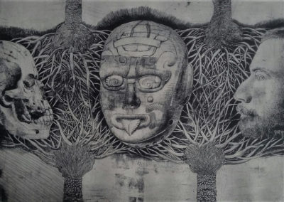 "Mascara del Rio Azul - Guillermo Maldonado - Guatemalan Artist and Print Maker - Drypoint etching - 10"" x 14"" - US$. 640."