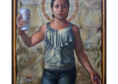 "HEBE (2014) - Patrick McGrath Muñiz - Puerto Rican contemporary fine artist - Oil & gold leaf on panel, 18"" x 24"" - US$. 3250."