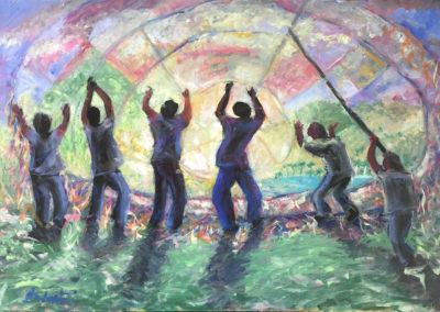 "Festival de barriletes - Brian M. Johnston - North American Impressionist artist - 40"" x 28"" - oil on canvas - US$. 2500."