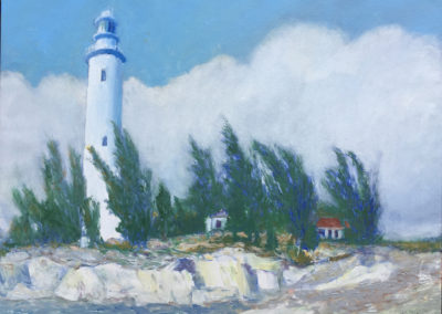 """Great Inagua Lighthouse - Brian M. Johnston - North American Impressionist Artist - 18"""" x 24"""" - oil on canvas - US$. 1800."""