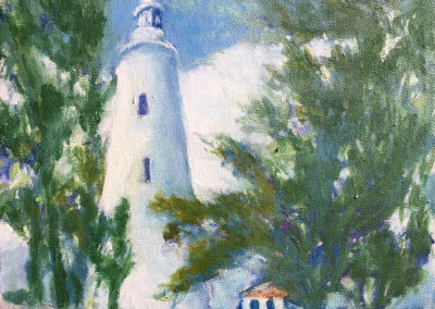 """Great Inagua Lighthouse III - Brian M. Johnston - North American Impressionist - 8"""" x 10"""" oil on canvas - US$. 500."""
