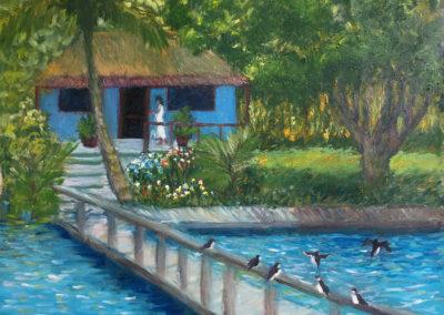"Laguna Bacalar Sojourn - Brian M. Johnston - North American Impressionist Artist - 20"" x 24"" oil on canvas - US$1500."