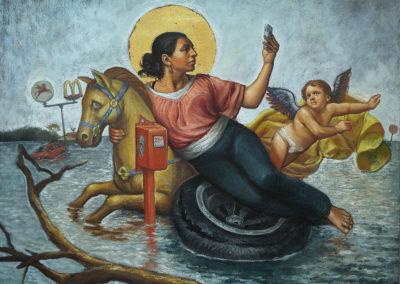 "The Quarter Ride (2017) - Patrick McGrath Muñiz - Puerto Rican contemporary fine artist - oil on canvas - 30"" x 24"" - US$. 4700."