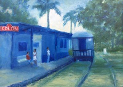 "Colon Station Blues - Brian M. Johnston - North American Impressionist artist - oil on canvas - 16"" x 20"" - US$. 1350."