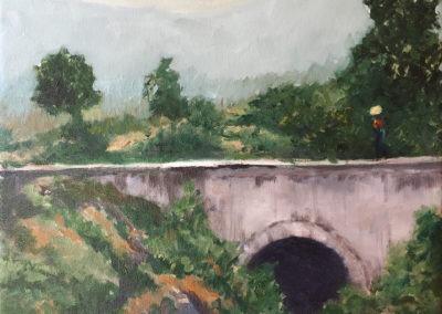 """Nahuala Bridge - Brian M. Johnston - North American Impressionist artist - 16"""" x 20"""" - oil on canvas - US$. 1,500."""