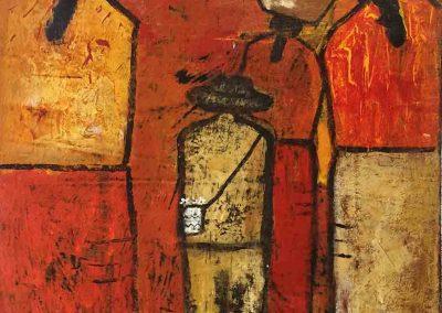"Vendedores - Jose Colaj 2011 - Guatemalan Indigenous Artist - Acrylic on canvas, 15"" x 18"" US$1740"