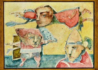 """Los duendes"" - Alexis Rojas - Guatemalan Fine Artist - 9"" x 11.5"" mixed medium on paper - US$735."
