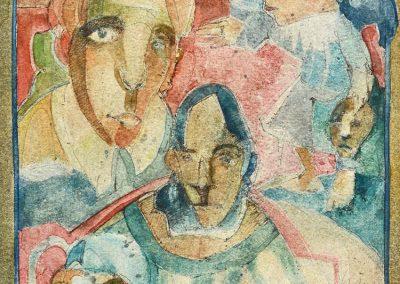 """Familia del circo - Alexis Rojas - Guatemalan Fine Artist - 8.5"""" x 11"""" mixed medium on paper, US$. 735."""