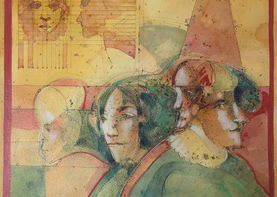"Los geometras - Alexis Rojas - Guatemalan Fine Artist - 16"" x 11"" Mixed medium on canson paper - US$1050."