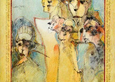 """La noche del soldado - Alexis Rojas - Guatemalan fine artist - 16"""" x 11"""" - mixed medium on canson paper - US$1050."""