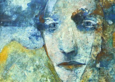 "Make me a mask XVII - Alexis Rojas - Guatemalan Fine Artist - 7.5"" x 7.5"" Mixed medium on illustration board - US$735."