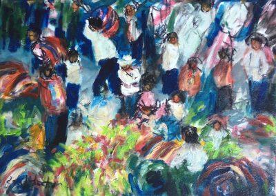 "Market sketch - Brian M. Johnston - North American Impressionist Artist oil on canvas - 8.5"" x 11"" - Private Collection"