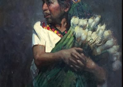"""Onion Seller From Aguacatan, William Kalwick Jr. North American fine artist - 20""""x24"""". Oil on canvas. Price US$6,000"""
