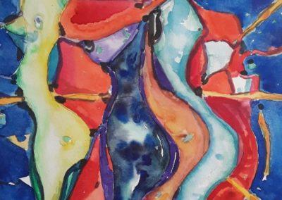"Danza sensual 2 - Gustavo Garcia - Watercolor artist - Guatemala - 14"" x 19"" - US$1000."