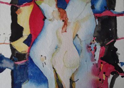 "Danza sensual - Gustavo Garcia - Watercolor artist - Guatemala - Watercolor - 9.45"" x 12.5"" - US$600."